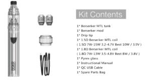 Vandy Vape Berserker MTL Starter Kit同梱物